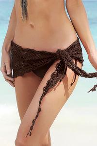 Cuba Libre Brown Mini Crochet Sexy Sarong Beach Cover Up image