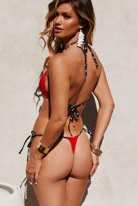 Red & Black Polka Dot G-String Thong Bottom image
