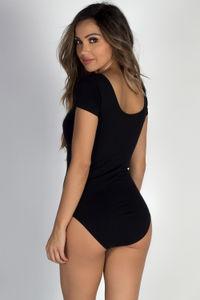 """Gimme More"" Black Scoop Neck Short Sleeve Bodysuit Top image"