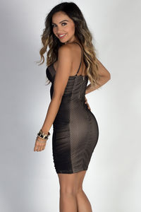 """You Can Dance"" Black Mesh Net Ruched Bustier Cocktail Dress image"