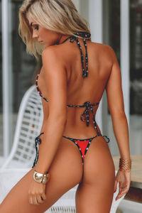Red & Black Polka Dot Bikini Top image