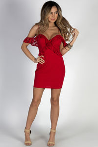 """Elegance"" Red Strappy Off Shoulder Lace Sweetheart Dress image"