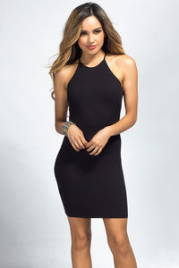 """Demi"" Black Backless Jersey Halter Dress with a Twist image"