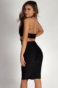 """""""Boo'd Up"""" Black Open Back Buckle Cut Out Midi Dress image"""