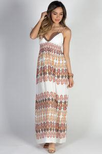 """Sundance"" Ivory Multicolor Boho Tribal Print Double Strap Maxi Dress image"