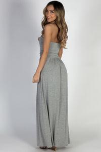 """California Sun"" Heather Grey Strapless Tube Top Maxi Dress image"