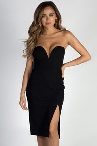 """""""Keeping My Options Open"""" Black Sweetheart Shimmer Dress image"""