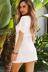 Cristal White Mesh Open Front Tie Beach Cover Up image