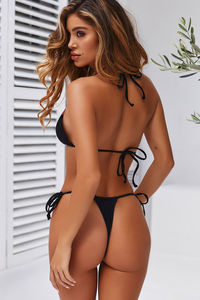 Black G-String Thong Ruched image