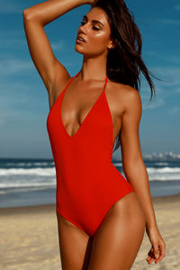 Lolita Red V Neck Halter One Piece Swimsuit image
