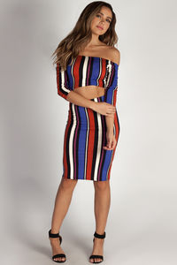 """Both Eyes Closed"" Blue Multi Color Striped Crop Top And Skirt Set image"