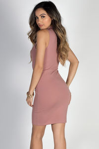 """It's a Vibe"" Mauve Sleeveless Mock Neck Lace Up Cut Out Dress image"