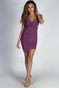 """""""Ask About Me"""" Purple Spaghetti Strap Draped Asymmetrical Mini Dress  image"""