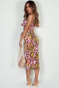 """Soleil D'Eté "" Pink Snake Print V-Neck Maxi Dress image"