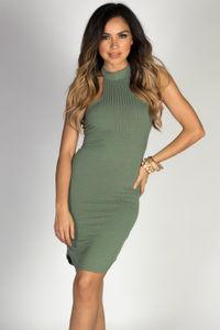 """Aim High"" Sage Bodycon Ribbed Jersey High Halter Neckline Mini Dress image"
