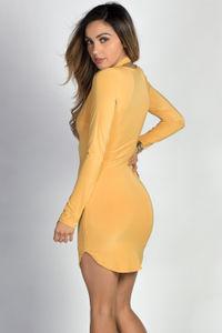 """Angela"" Mustard Long Sleeve Twist Strap Bodycon Dress image"
