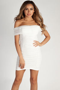 """One Call Away"" Soft White Ruched Off Shoulder Mesh Dress image"