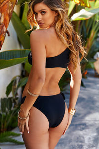 Leilani Black One Shoulder Bikini Top image