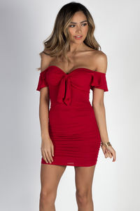 """""""Fireside"""" Red Flutter Sleeve Off Shoulder Ruched Dress image"""