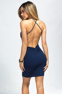 """Demi"" Navy Blue Backless Jersey Halter Dress with a Twist image"