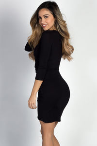 """Gemma"" Black 3/4 Sleeve Ruched Jersey Wrap Dress image"