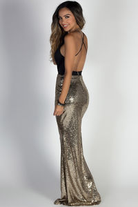 """Glamour Girl"" Black & Gold Sequin Mermaid Maxi Gown image"