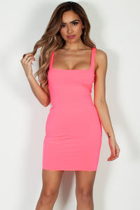 """Always On Time"" Neon Pink Layered Square Neck Mini Dress image"