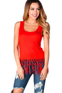 """""""Delia"""" Poppy Red Jersey Knotted Fringe Tank Top image"""
