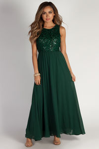 """Sweet Bliss"" Hunter Green Sleeveless Crochet Lace Maxi Dress image"