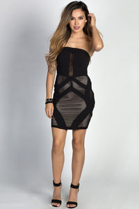 """Nova"" Black Fishnet Cut Out Sexy Strapless Mini Dress image"
