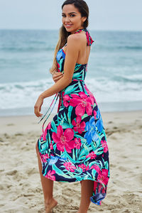 Rheingold Navy Tropical Print Wrap Style Maxi Beach Dress image