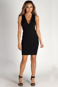 """""""Moment In Time"""" Black Rhinestone Side Bar Plunge Bodycon Dress image"""