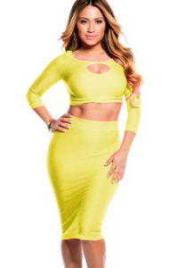 """Jasmine"" Highlighter Neon Yellow Reversible Cut Out Crop Top and Midi Skirt Set image"
