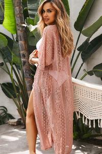 Pink Boudoir Crochet Lace Cover Up image