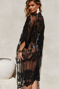 Midnight Boudoir Black Floral Lace Beach Cover Up image