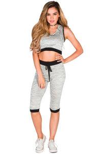 """Celia"" Gray & Black Ultra Soft Hoodie Crop Top & Capri Legging Set image"