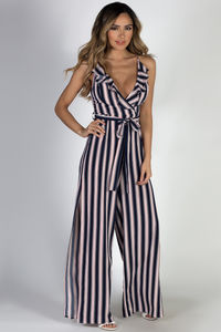 """Main Event"" Navy Striped Halter Top Jumpsuit image"