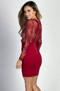 """Pheonix"" Burgundy Lace Long Sleeve Lace Up Bodycon Dress image"