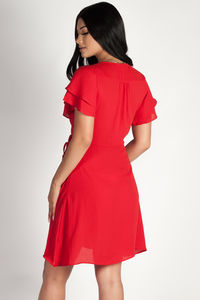"""Summer Sippin'"" Red Ruffled Shoulder Dress image"