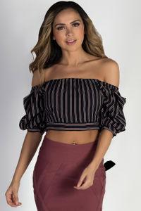 """""""Opulent"""" Black Striped Off Shoulder Crop Top image"""