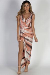 """Be Joyful"" Coral Tie Dye Maxi Dress image"