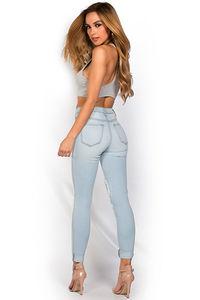 """Samara"" Blue Light Wash Stretch Denim Ripped Skinny Jeans image"