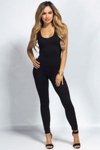 """Aaliyah"" Black Jersey Tank Catsuit Jumpsuit image"