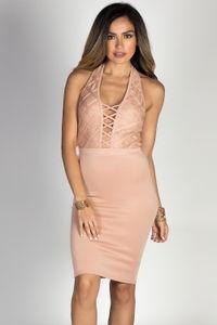 """Caryn"" Nude Lace Bodice Bodycon Halter Dress image"