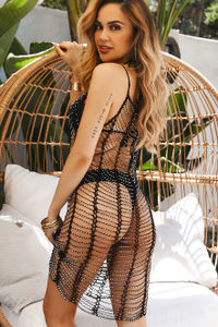 Meira Ivory Black Beaded Crochet Beach Dress Cover Up image