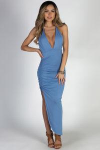 """Rain or Shine"" Blue Halter Maxi Dress image"