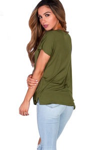 """Kelly"" Avocado Green Super Soft Oversized Ladies V Neck T Shirt image"