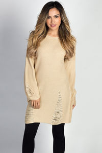 """""""Shannon"""" Beige Distressed Cozy Sweater Tunic Dress image"""