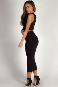 """Mamacita"" Black Cropped Tank Top And Midi Skirt Set image"