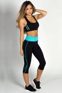 """""""Chakra"""" Black & Turquoise Capri Yoga Sport Leggings image"""
